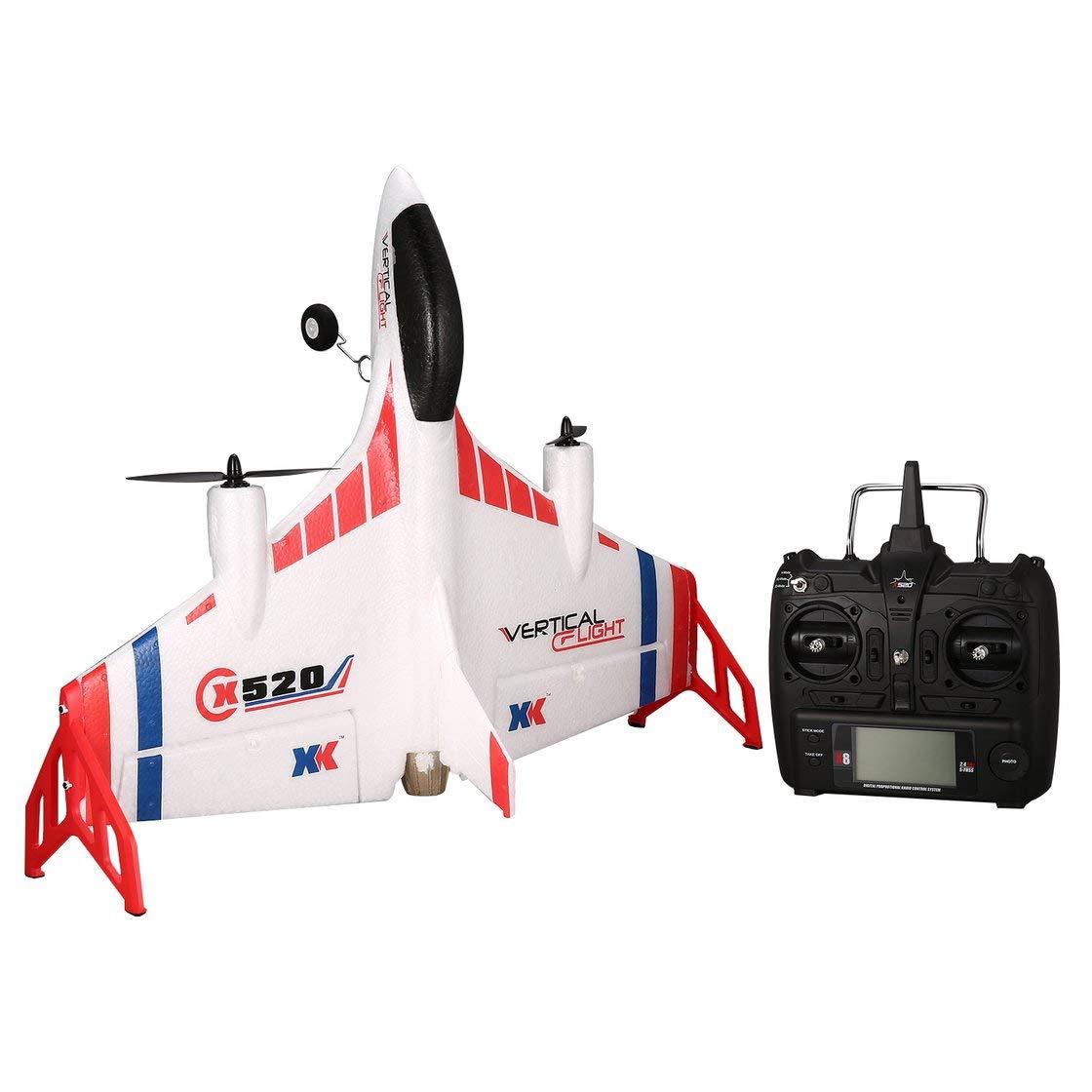 Laurelmartina XK X520 6CH 3D / 6G Avión VTOL Despegue Vertical Tierra Delta ala RC Drone ala Fija ala de Juguete con luz de Interruptor de Modo LED