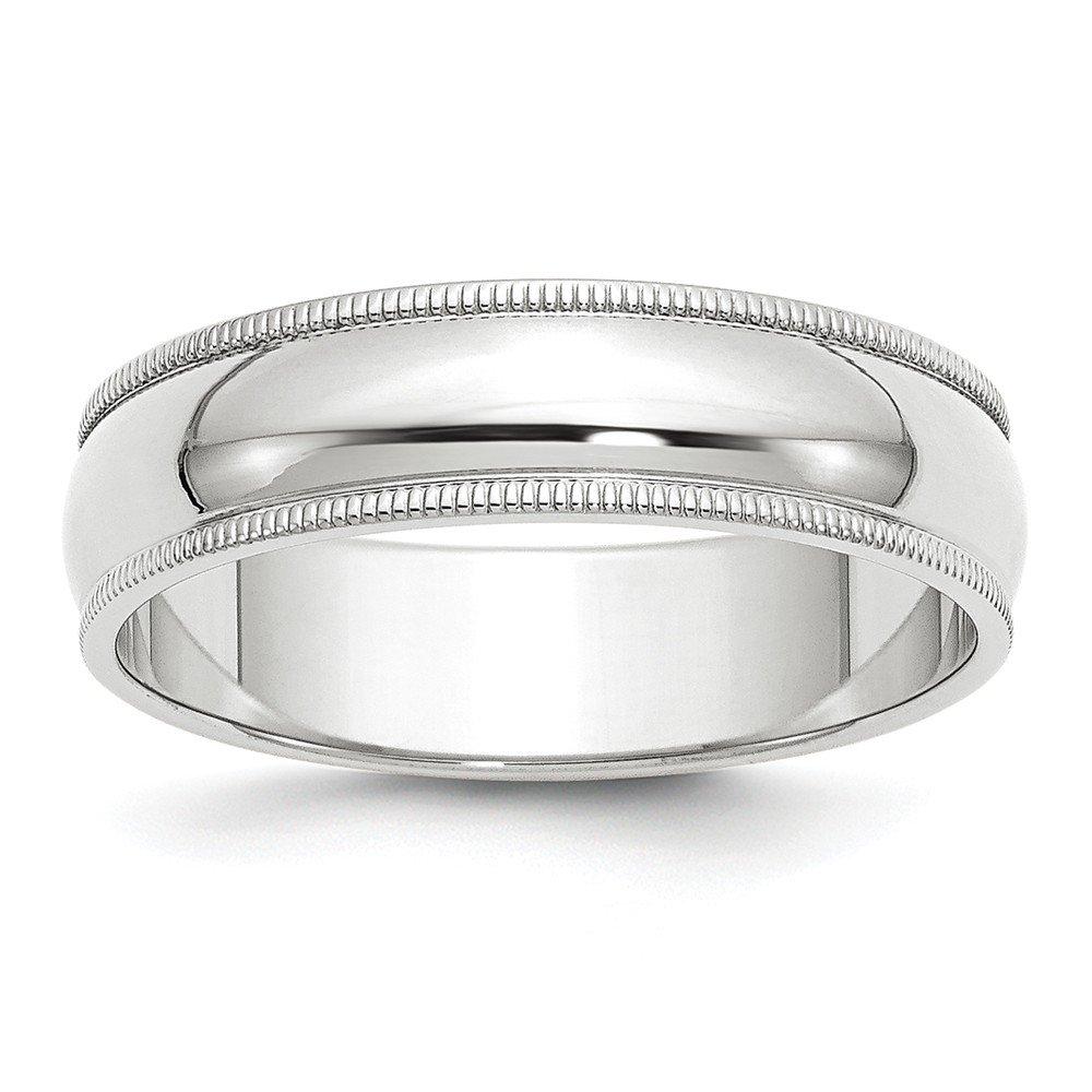 14K White Gold 6mm Milgrain Band Ring