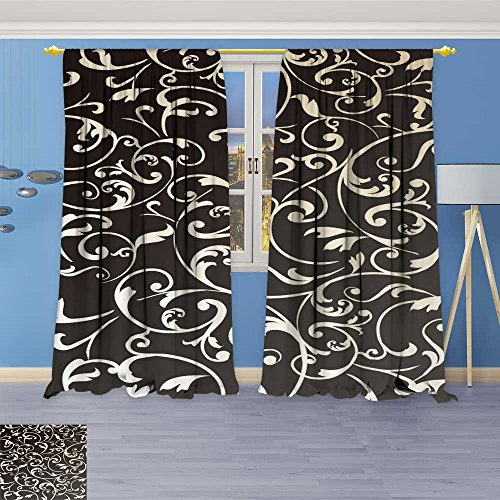 Panel 84l (SOCOMIMI Blackout Burgundy Curtains Wallpaper Vintage Background for Bedroom/Living Room 80% Privacy Panel Drapes 108W x 84L inch)