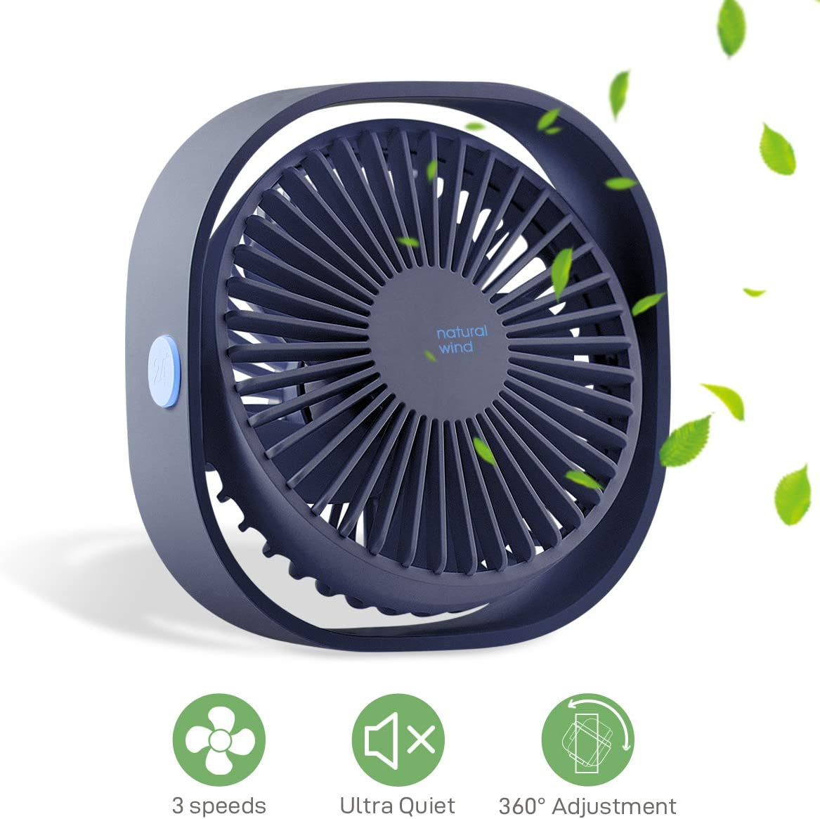 MATEPROX Mini USB Desk Fan, Snow Series Small Desktop Table Personal Fan with 3 Speed,Quiet Cooling Wind for Office Desktop Room Car Travel Blue