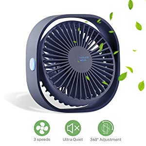 MATEPROX Mini USB Desk Fan,[Snow Series] Small Desktop Table Personal Fan with 3 Speed,Quiet Cooling Wind for Office Desktop Room Car Travel (Blue)