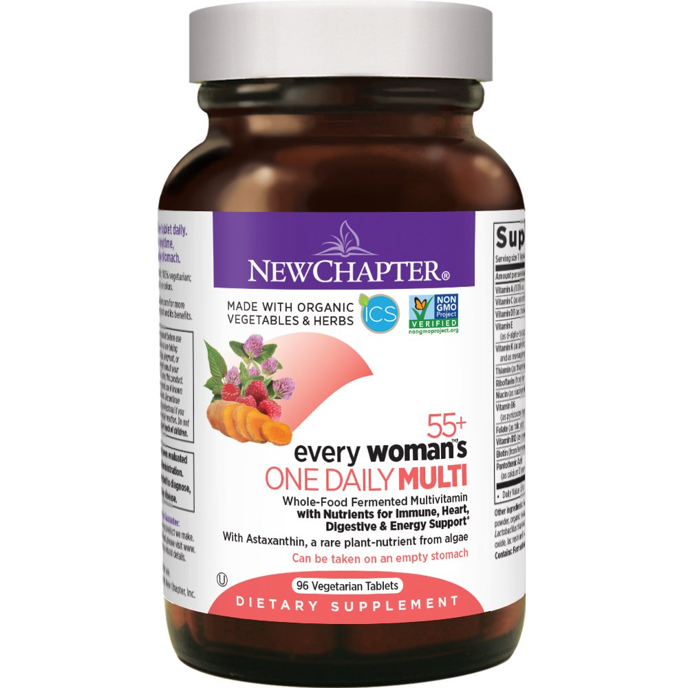 New Chapter Multivitamin for Women 50 plus - Every Woman's One Daily 55+ with Fermented Probiotics + Whole Foods + Astaxanthin + Vitamin D3 + B Vitamins + Organic Non-GMO Ingredients - 96 ct