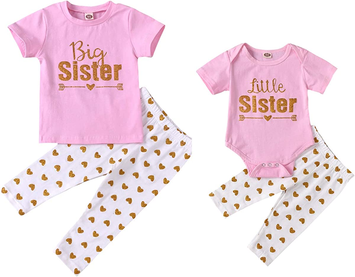 Big Sister Little Sister Matching Outfits Baby Girl Bodysuit Kids Toddler Girl T Shirt Tops With Pants Set Summer Clothes Clothing