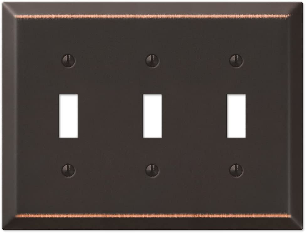 Amerelle 163TTTDB Century Steel Wallplate 3 Toggle Light Switch Aged Bronze