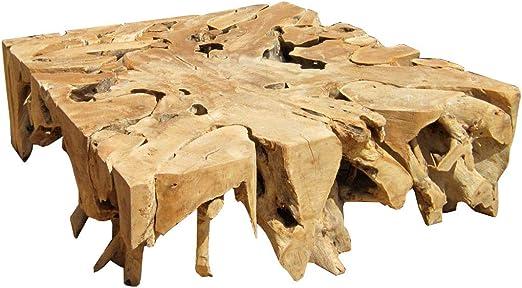 Meubletmoi Mesa Baja Cuadrado en raíz de Teca – Mueble Estilo ...
