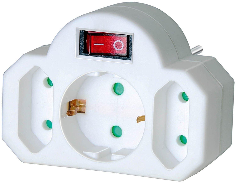 Brennenstuhl Mehrfachsteckdose Steckdosenadapter 3-fach mit Schalter Zwischenstecker bestehend aus 2 x Eurosteckdose /& 1 x Schutzkontakt