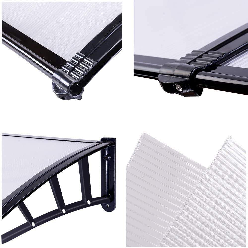 Door Canopy Awning 120*75cm Back Window Rain Snow Shelter Front Porch Outdoor Shade Patio Roof Cover UV Protection