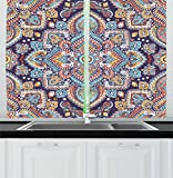 Ambesonne Ethnic Kitchen Curtains, Bohemian Style Tribal Ethnic Motif Vintage Henna Inspired Traditional Mehndi Art, Window Drapes 2 Panel Set for Kitchen Cafe, 55 W X 39 L Inches, Multicolor Review