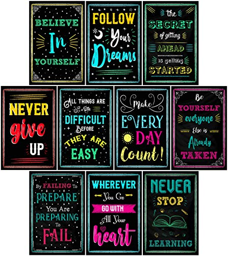 L & O Goods Motivational Posters for Classroom & Office Decorations | Inspirational Quote Wall Art for Teachers, Students, School Counselors, Home & Office | Set of 10 Creative Chalkboard Designs]()