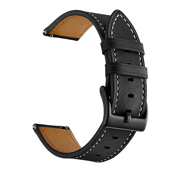 Balerion 20mm Qiuck Release Genuine Leather Strap Watch Band for Samsung Gear Sport,Skagen Falster Smartwatch,Nokia Steel HR 40MM Version-Black