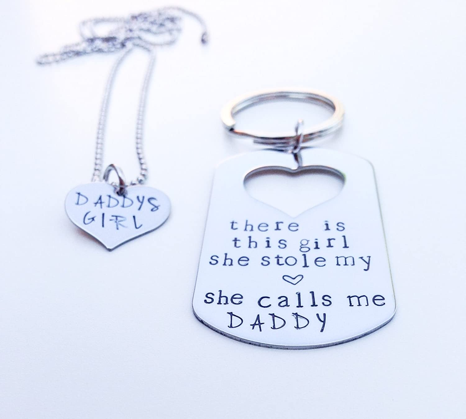 Superior Dad And Daughter Gifts Part - 7: Amazon.com: There Is The Girl She Stole My Heart She Calls Me Daddy -  Daughter Keychain, Necklace Set - Fatheru0027s Day Gift: Jewelry