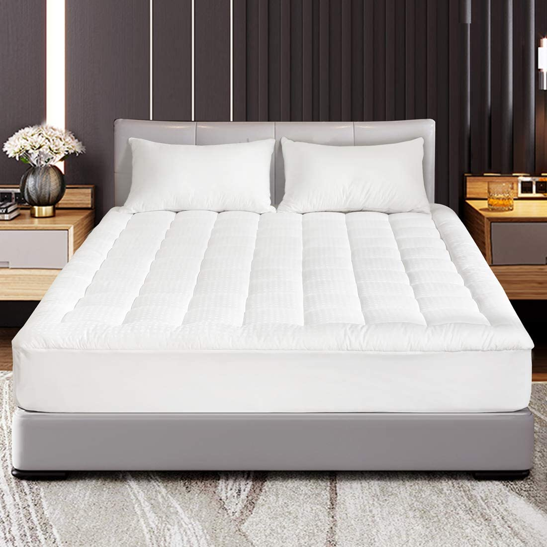 """Abakan Queen Mattress Pad Cover Pillow Top Down Alternative Fill Cotton Top Cooling Breathable Soft Mattress Topper Fitted 8""""-21"""" Deep Pocket"""