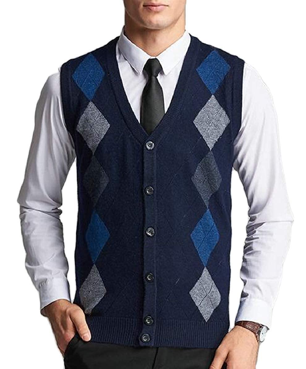FLCH+YIGE Mens Basic Slim V-Neck Argyle Pattern Button Down Knit Vest Cardigan