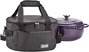 HOMEST Travel Carrying Bag for Lodge Enameled Dutch Oven 6 Quart, Tote Storage Case for Lodge Oven 12'', Black (Patent Pending)