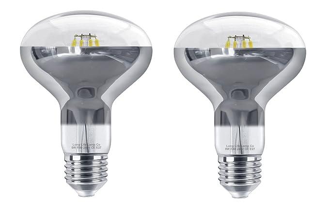 2 x 8 W LED R80 reflector luz bombilla E27 blanco frío focos halógenos de repuesto