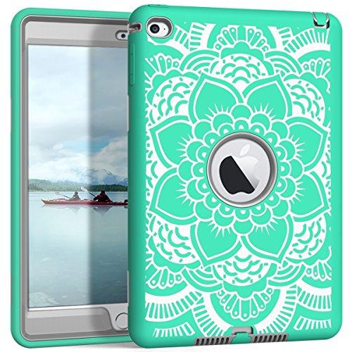 iPad Mini 4 Case A1538/A1550, Hocase Rugged Hybrid Double Layer Shockproof Protective Hard Rubber Case for Apple iPad Mini 4 Retina - Aqua Flower/Grey