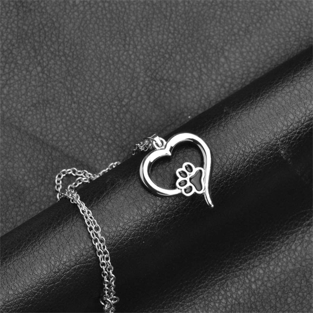 Buelgma Hollow Pet Paw Necklaces Cute Dog Cat Memorial Jewelry Pet Lover Puppy Paw Heart Charm Black Enamel Necklace Girls
