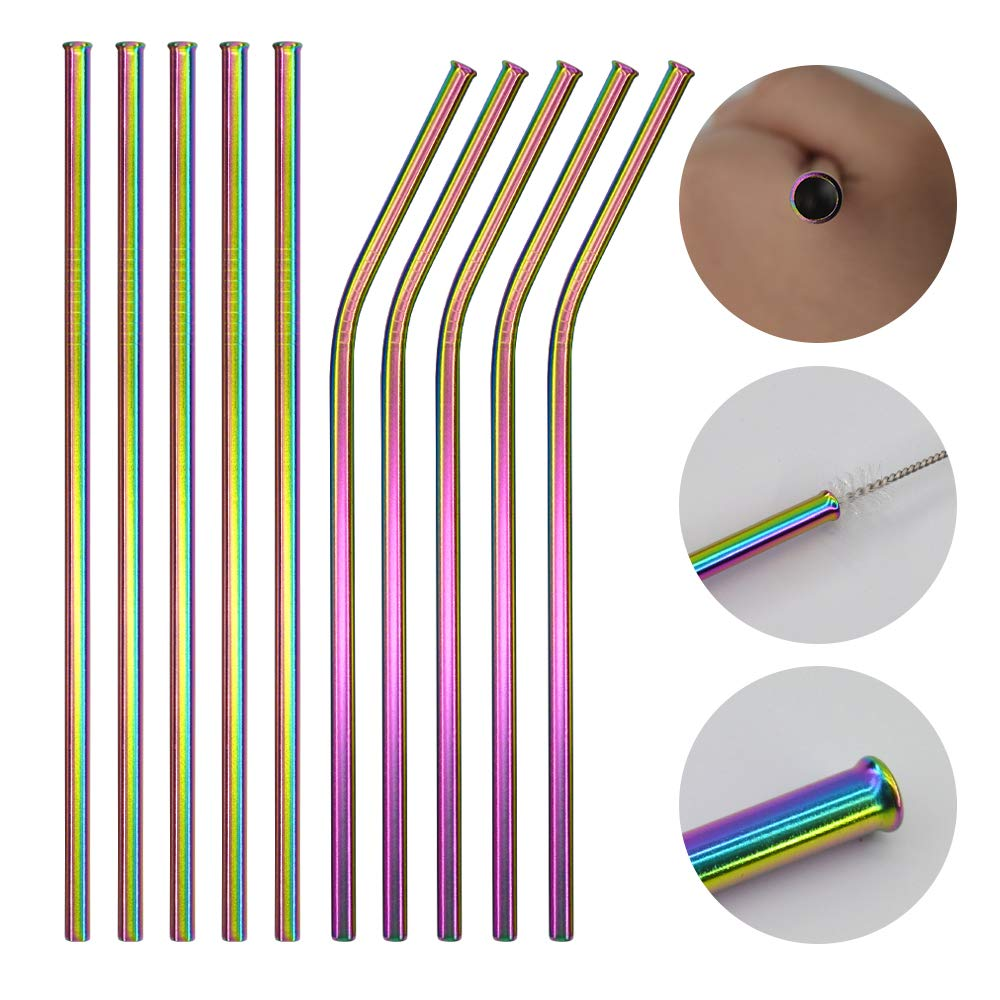 MultiColor Colorful Metal Straws Stainless Steel Straws FDA 8.5\
