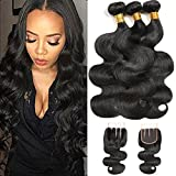 Simei 8A Brazilian Virgin Hair Body Wave 3 Bundles With Closure 100% Unprocessed Human Hair Weave With Lace Closure Natural Color (14 16 18+12 Three Part)
