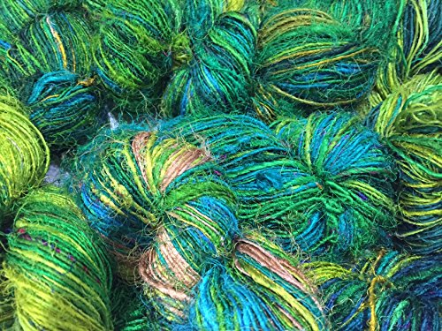 Knitsilk Premium Recycled Sari Silk Yarn - Ocean of Green Multicolour (120 Yards) - Eco Friendly Silk Sari Yarn