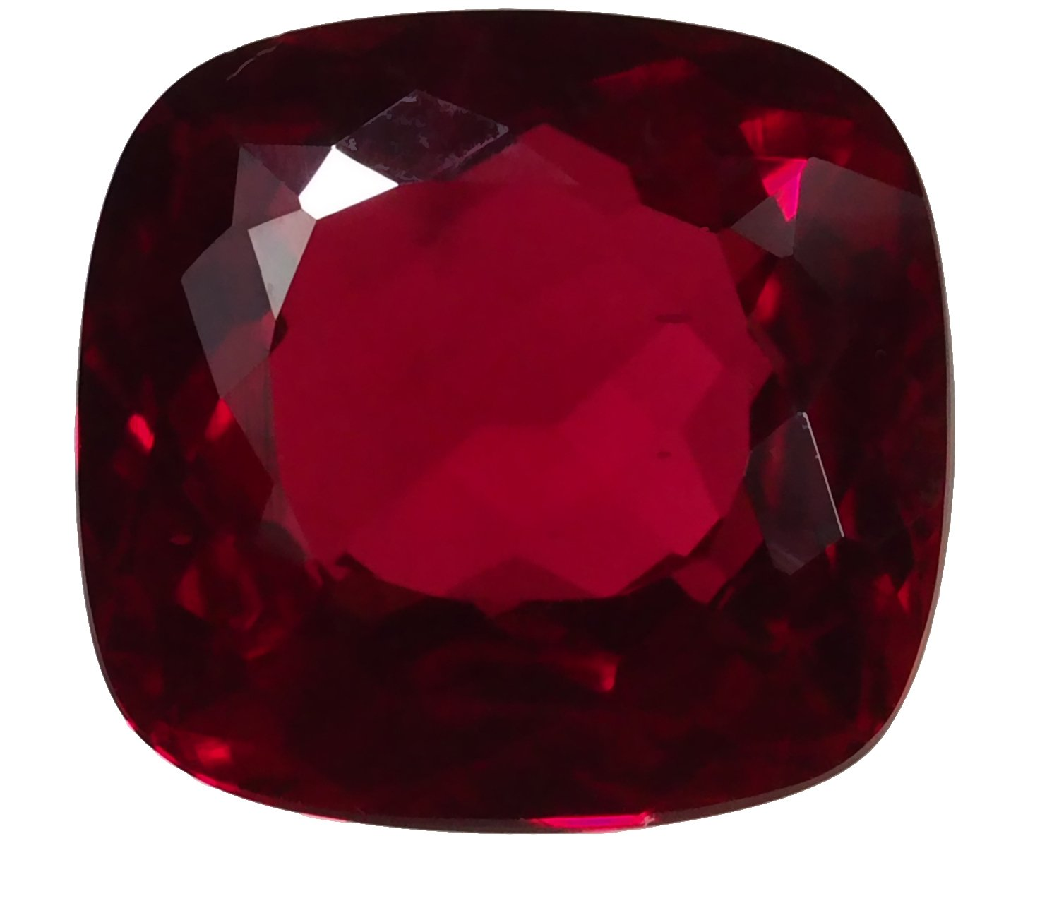 Synthetic Ruby Rounded Large Faceted Cushion 18mm