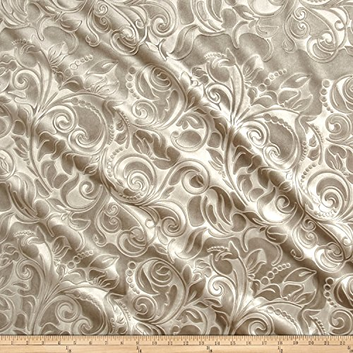 Embossed Velvet Scroll Sand Fabric By The Yard