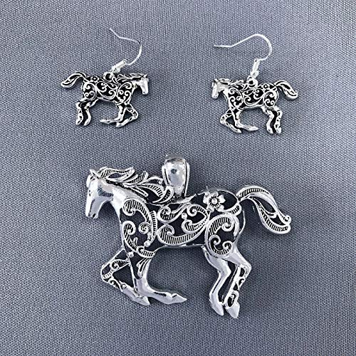 (Silver Finished Mustang Horse Shape Slide Charm Filigree Pendant Earrings Set LL-1581)