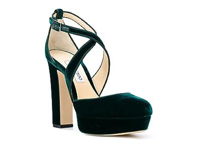 3393c8c67abd JIMMY CHOO Women s Green Velvet Sandals with Platform Shoes - Size  5.5 US