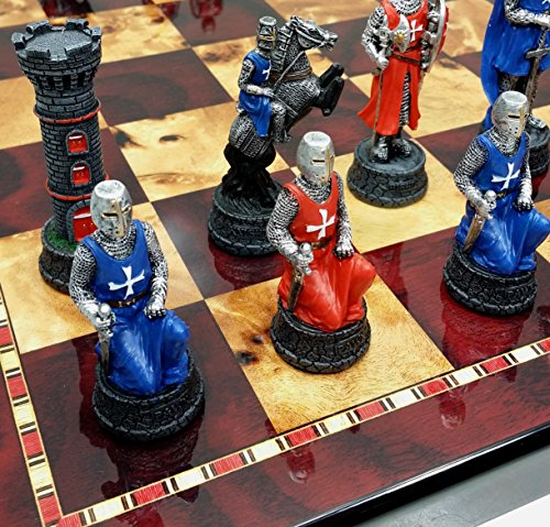 (Medieval Times Red & Blue Maltese Warrior Knight Chess Set W/ 18