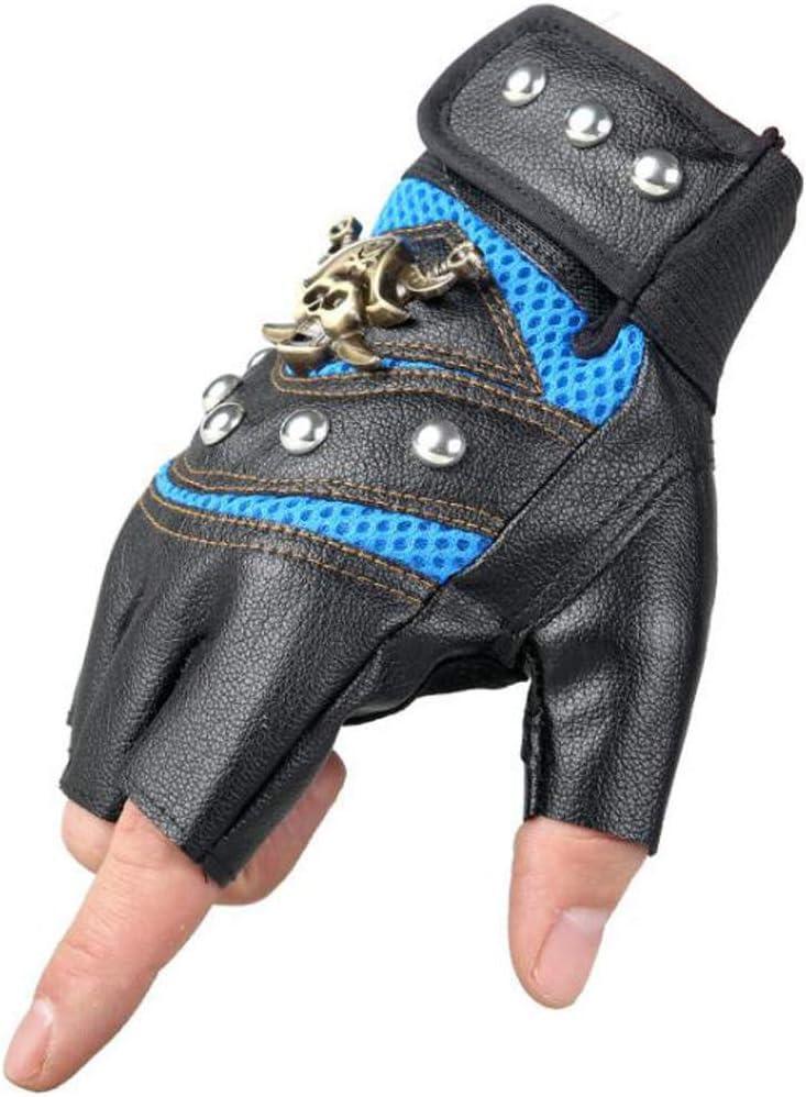 Halloluck Blue Studded Gloves Steampunk Gothic Gloves Punk Costume Rivet Motorcycle Car Driving Gloves Captain Fingerless Mittens 80s Rocker Costume Accessory