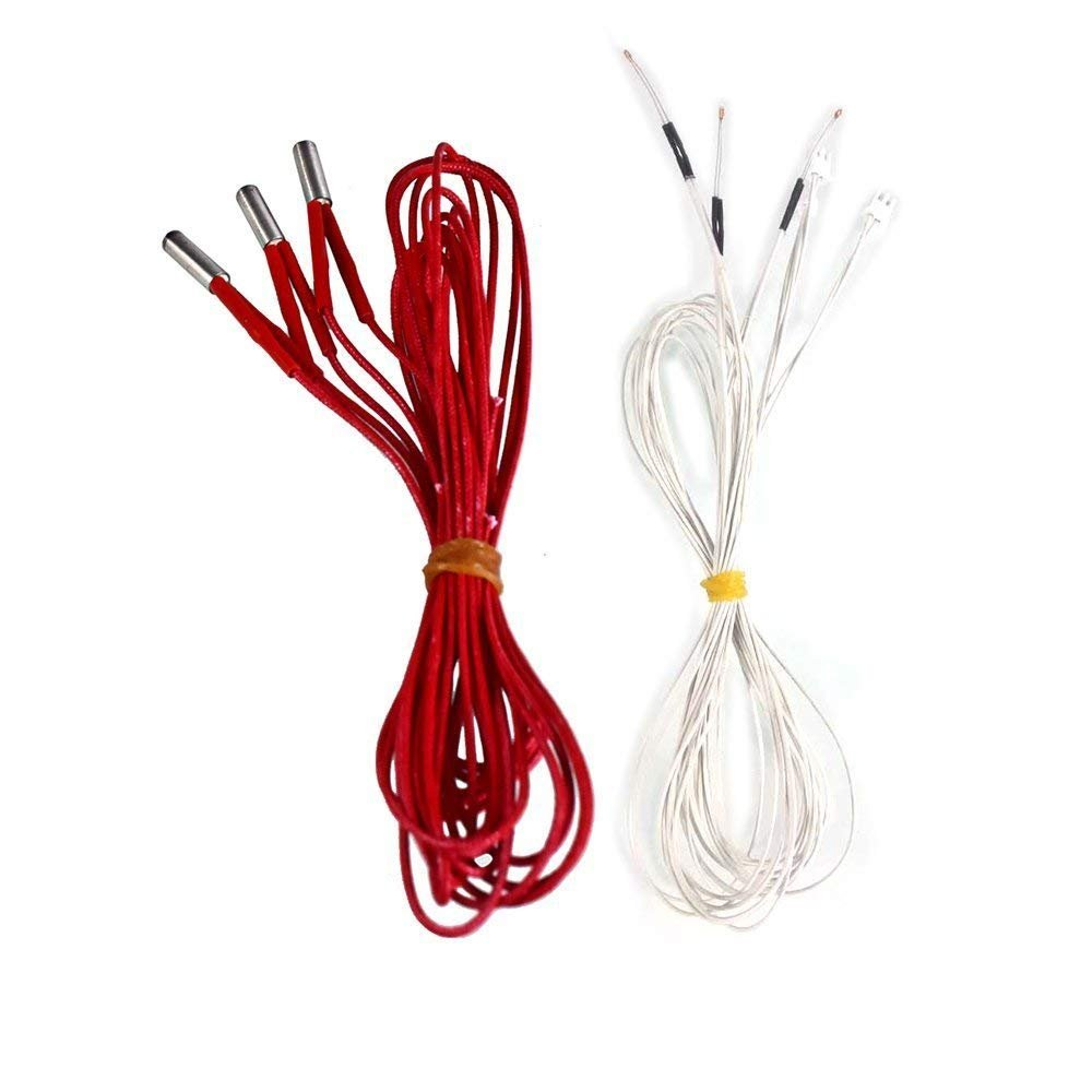 Comgrow 3D Printer Thermistor Temp Sensor Cartridge Heater 24V 3pcs + 3pcs