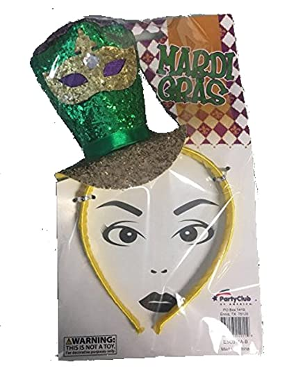 Amazon.com  Mardi Gras Glittered Top Hat Headband (Green Hat)  Clothing 2a30df4f8a16