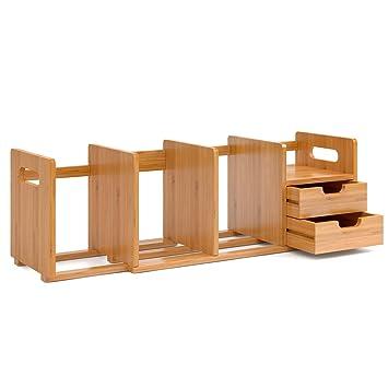 Homfa Bambus Bücherregal Schreibtisch Ausziehbar 50 80x19x20cm