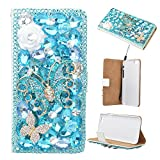 Spritech(TM) 3D Handmade Pure White Crystal Flower Blue Butterfly Diamond Design Leather Wallet Case for Iphone 5C