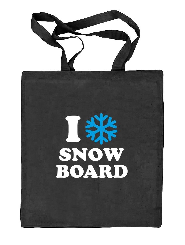 Shirtstreet24, I LOVE SNOWBOARD, Apres Ski Wintersport Natur Stoffbeutel Jute Tasche (ONE SIZE)