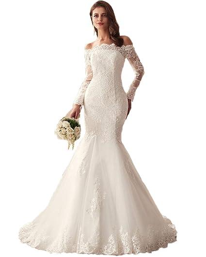 19719f285abd1 LUBridal 2019 Lace Mermaid Wedding Dresses Applique Beaded Long Sleeve  Bridal Gowns Formal