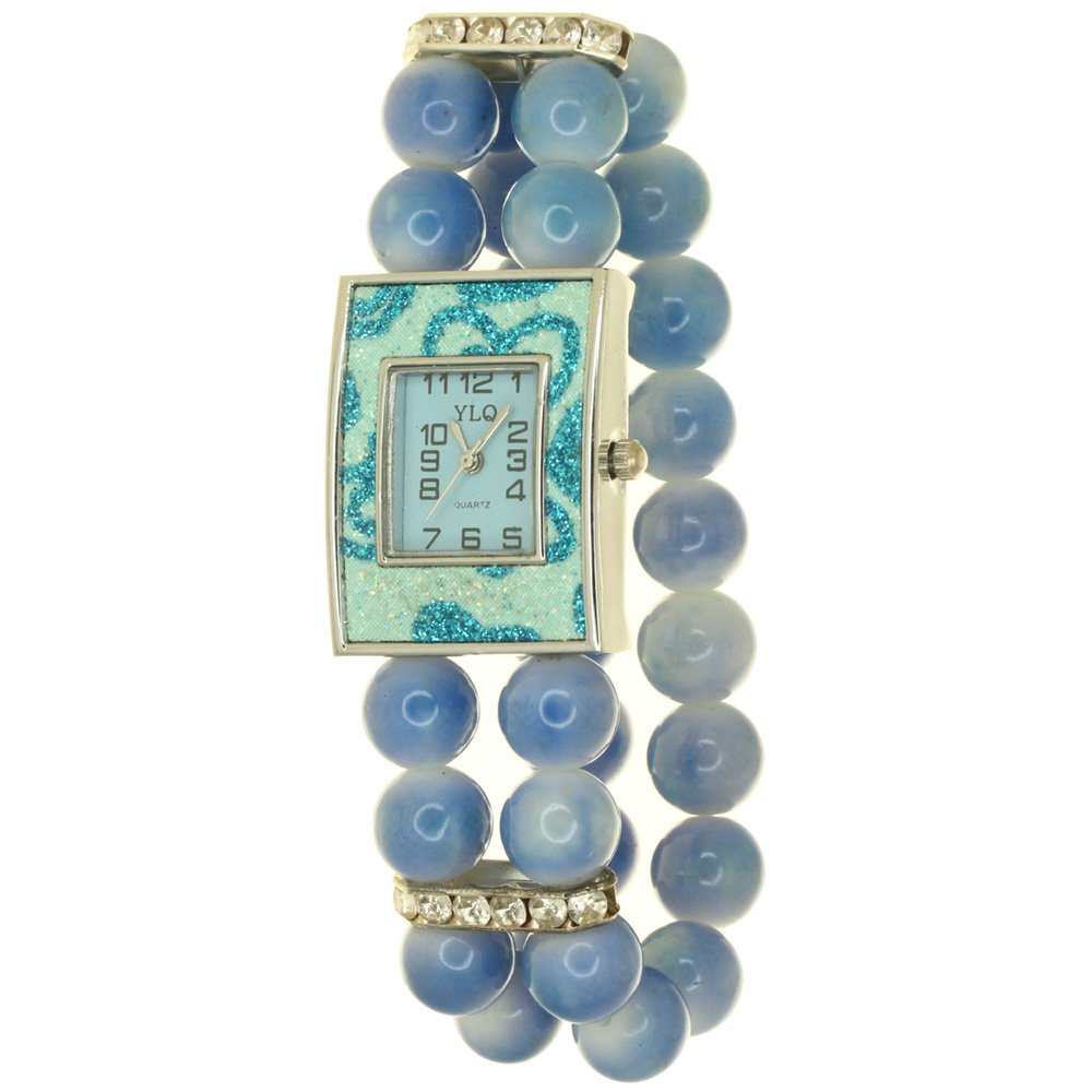 Womens Flicker Glittering Face Simulated Pearl Fashion Bling Bracelet white Dial Jewelry WristWatch