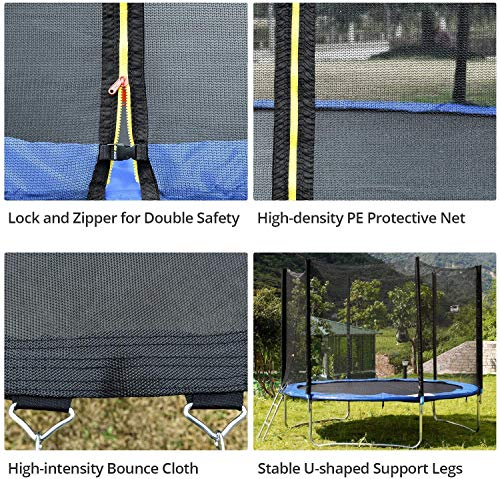 JINS&VICO 10 FT Trampoline with Safety Enclosure Net,Recreational Trampoline Jumping Mat and Spring Cover Padding,600LB Weight Limit for Kids and Adults, Indoor Outdoor Exercise Fitness