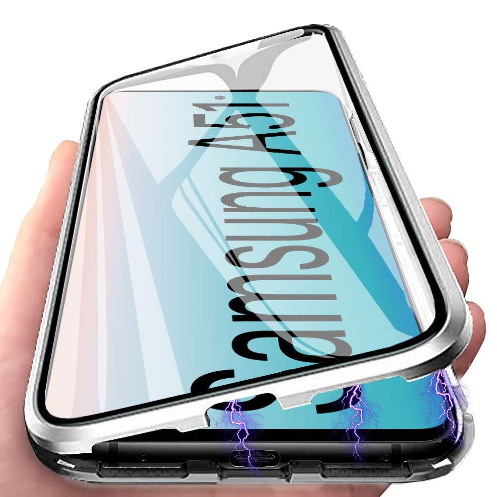 E-Lush Funda Transparente Vidrio Templado Case Cover para Samsung Galaxy A71 Adsorci/ón Magn/ética Carcasa 360 Grados Protecci/ón Caso Anti Choque Metal Flip Cover Funda para Samsung A71 Negro