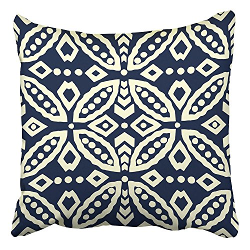 Moire Ring Pillow - Throw Pillow Covers Indigo Dye Batik Geometric Ornament Ethnic Motif Rings Rhomboid Decor Pillowcases Polyester 16 X 16 Inch Square Hidden Zipper Home Cushion Decorative Pillowcase