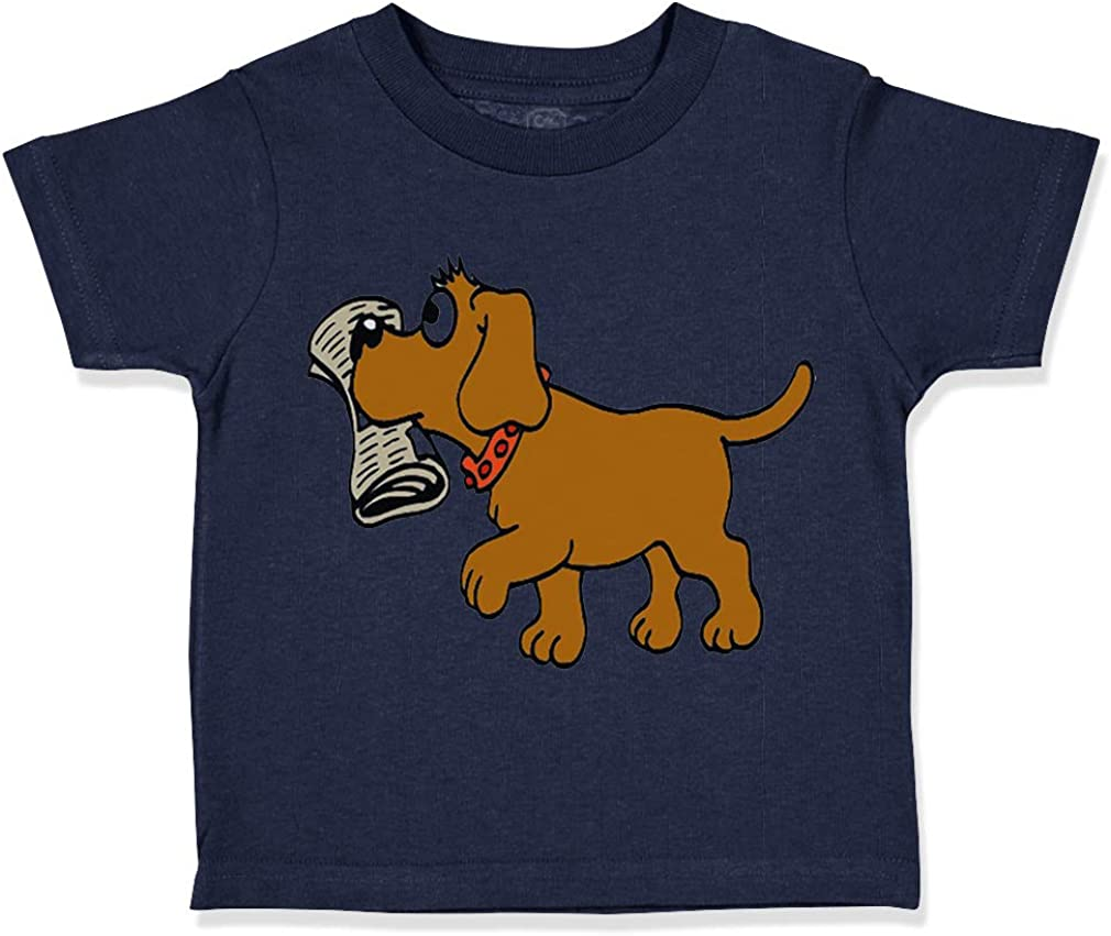 Custom Toddler T-Shirt Brown Dog Bringing The Newspapers Lover Pet Cotton