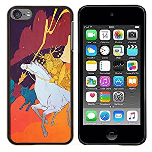 Qstar Arte & diseño plástico duro Fundas Cover Cubre Hard Case Cover para Apple iPod Touch 6 6th Touch6 (Hunter Medieval)