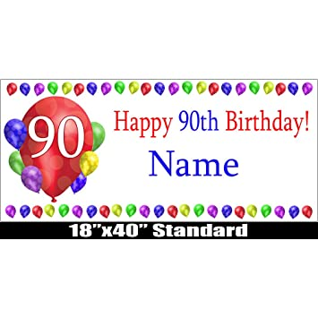 90TH BIRTHDAY BALLOON BLAST CUSTOMIZABLE BANNER