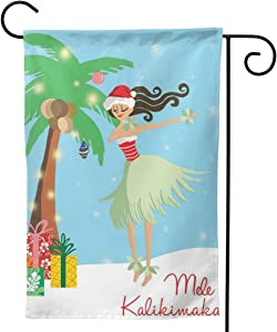 Only Pineapple Mele Kalikimaka Hawaii Christmas Girls Palm Tree Seasonal Family Welcome Double Sided Garden Flag Outdoor Funny Decorative Flags for Garden Yard Lawn Decor Party Gift Many Sizes