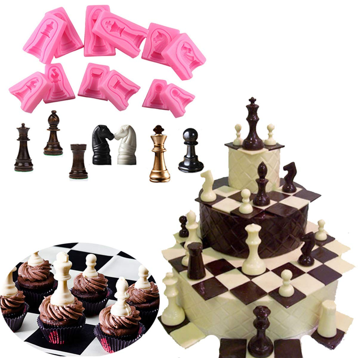 Anyana International chess game 6 sets fondnat silicone mold 3D double-sided printing gum paste mold chocolate candy mould baking clay cupcake toppers decorating cake tools
