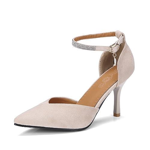 bc3c0464c7bc7 OALEEN Escarpins Femme Sexy Bout Pointu Strass Bride Cheville Talon Haut  Chaussuress Eté Soirée Beige 32