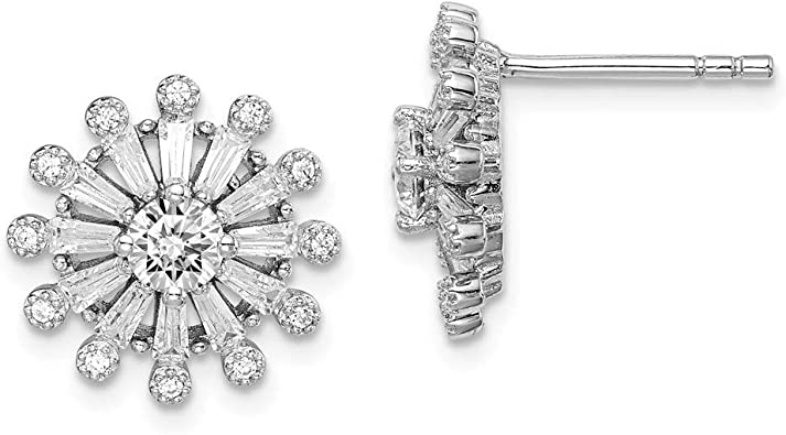 925 Sterling Silver Rhodium-plated CZ Post Earrings
