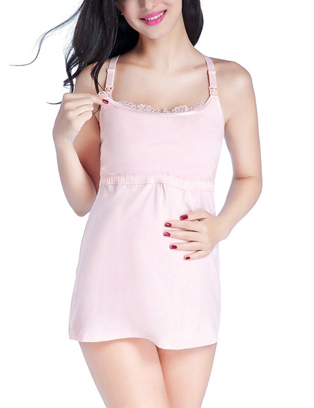 Zantec Pijama cómoda para embarazadas, Chaleco de lactancia de gran tamaño flojo embarazada chaleco Sexy ropa interior de encaje pijamas de regalo: ...