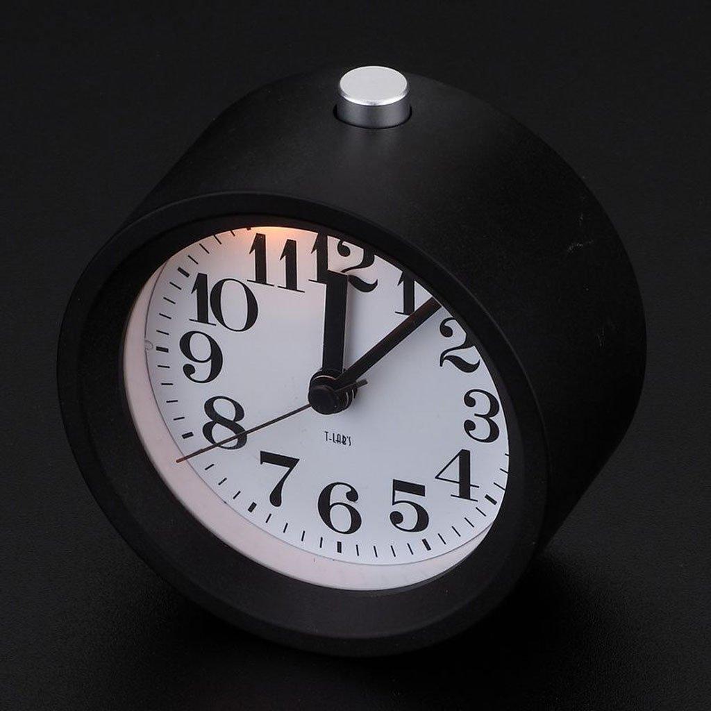 実際の木の学生の創造的な目覚まし時計のミュートの子供の時計と時計パーソナリティ光る電子寝室 (Color : Metal black) B07CT9NCJHMetal black
