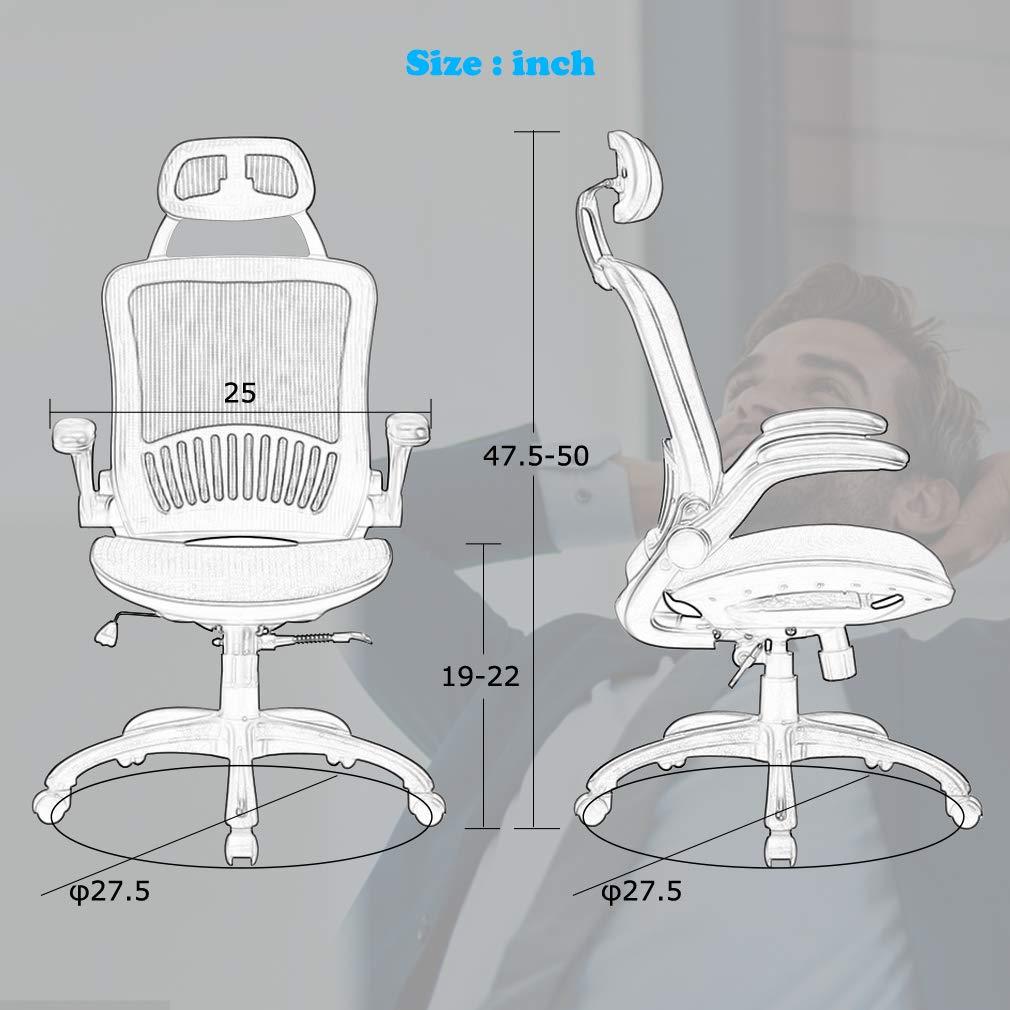Computer Desk Office Chair, Ergonomic Executive Mesh Task Chair Lumbar Support for Office Chair with Flip-up Arms by BestOffice (Image #7)